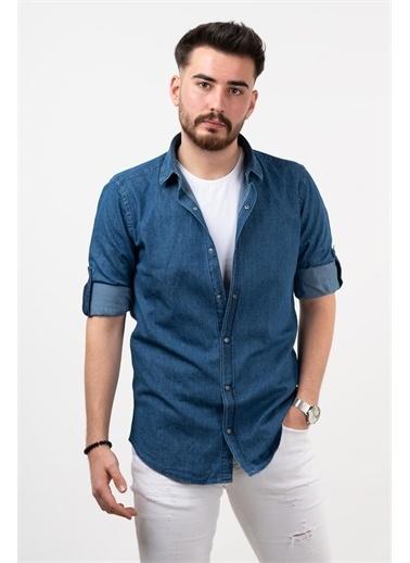 Deri Effect Deri Effect Mavi Erkek Slim Fit Pamuklu Uzun Kollu Gömlek Mavi